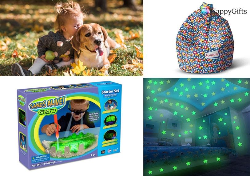 коледни подаръци за дете, светещи звезди в тъмното, барбарон, светещ пясък, пясък за моделиране, домашен любимец