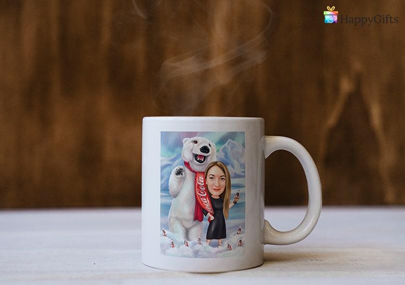подаръци за дъщеря, подарък за дъщеря, коледна чаша, чаша с карикатура