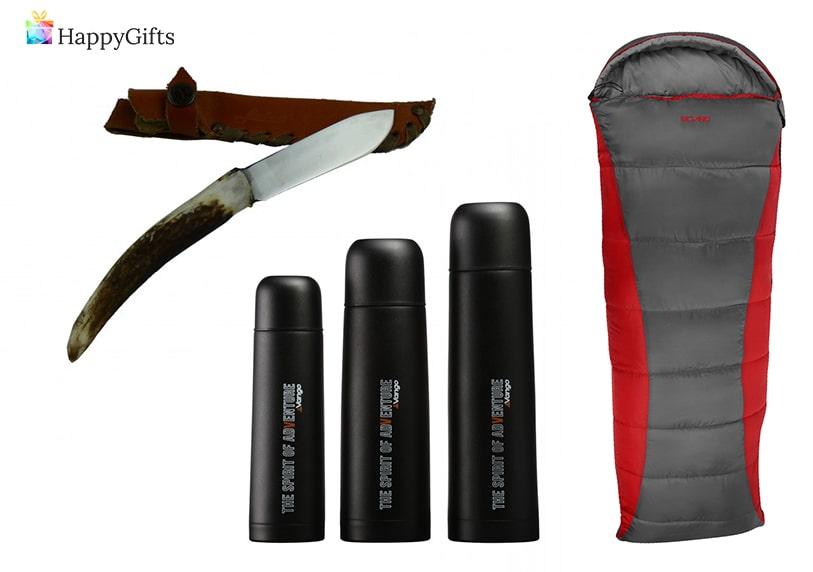 ловни аксесоари; ловджийски нож, термос, спален чувал