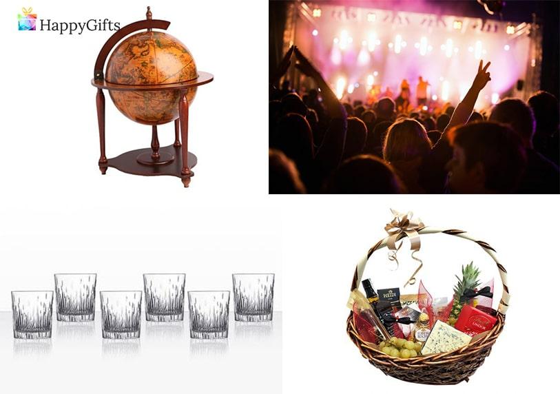 луксозни подаръци за шефка, глобус бар, концерт, чаши, подаръчна кошница
