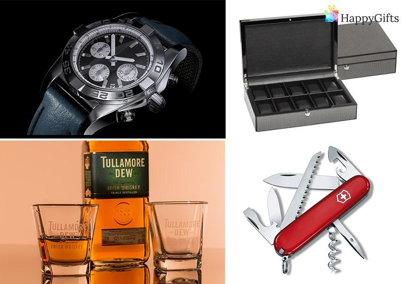 мъжки подаръци за рожден ден, часовник, швейцарско ножче, кутия за часовници, сет за уиски