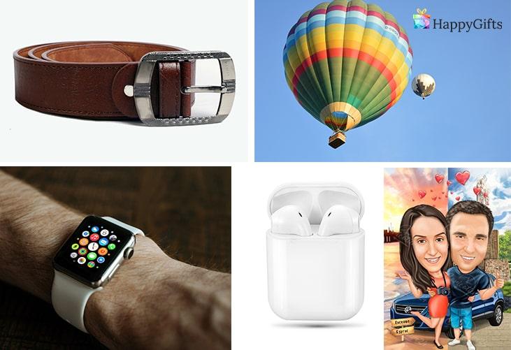 Мъжки подаръци за свети валентин; колан, полет с балон, смарт часовник, безжични слушалки, карикатура по снимка