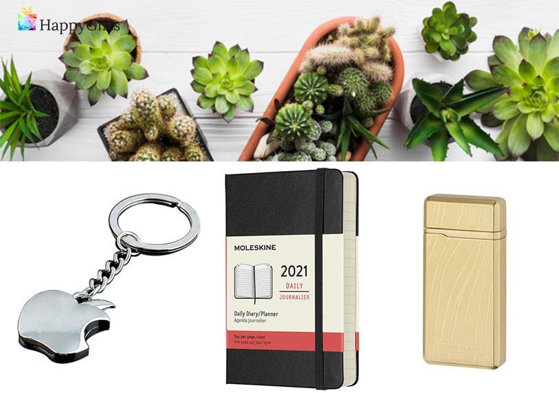 малък подарък за шефка, ключодържател, мини растение, запалка, тефтер