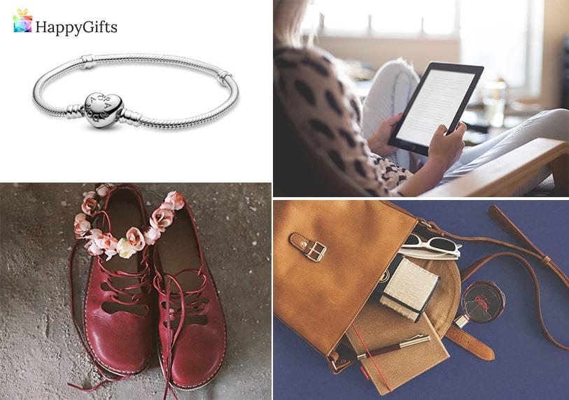 подаръци за дъщеря, подарък за дъщеря, колие, електронен четец, дамска чанта, обувки