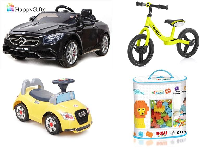 Подарък за 1 годишно момче; акумулаторна количка, колело, кола, конструктор