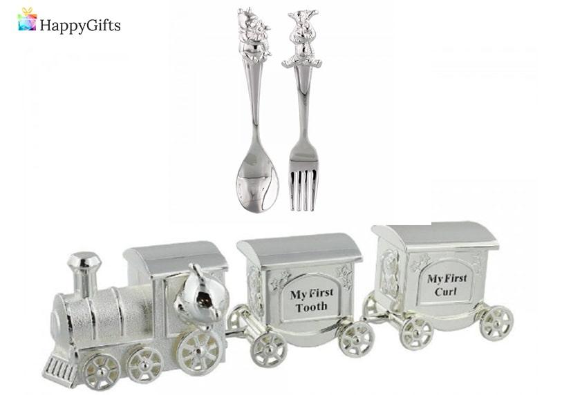 Оригинален подарък за дете на 1 годинка; детски прибори, влакче със сребърно покритие