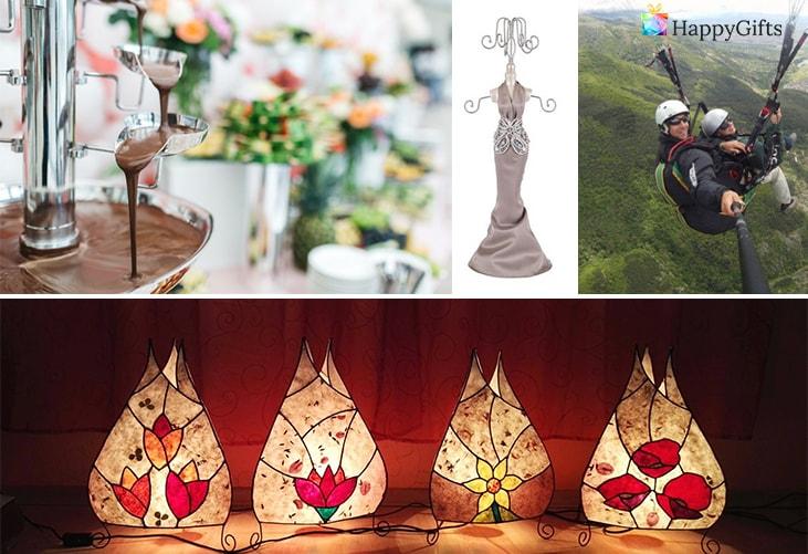оригинален подарък за приятелката; шоколадов фонтан, поставка за бижута, полет с парапланер,лампа