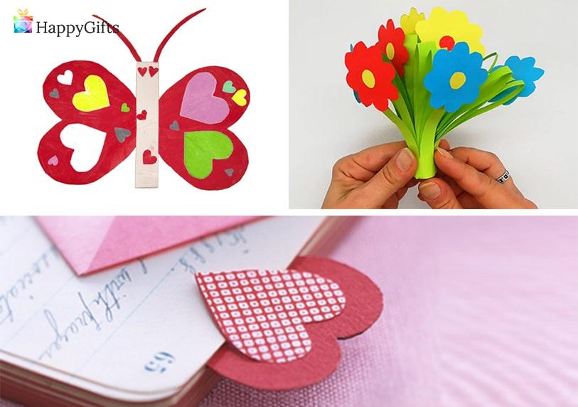 подарък за майка, подарък за мама, картичка, хартиен букет, хартиена пеперуда