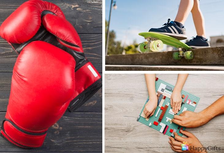 подарък за 8 годишно момче; боксови ръкавици, скейтборд, лего конструктор