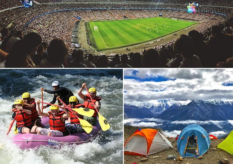 подарък спомен, футболен мач, рафтинг, палатка