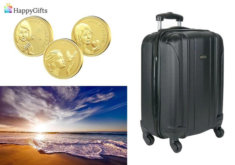 подарък за 50 рожден ден, златна монета, куфар, почивка