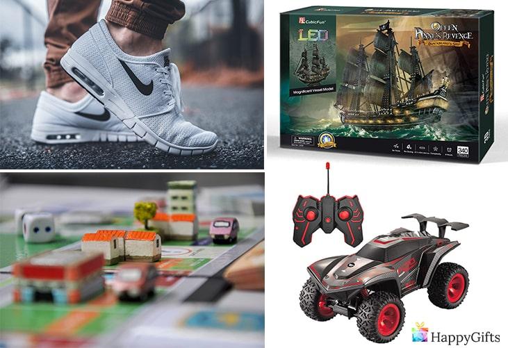 подаръци за рожден ден на момче; маратонки, бордна игра, количка
