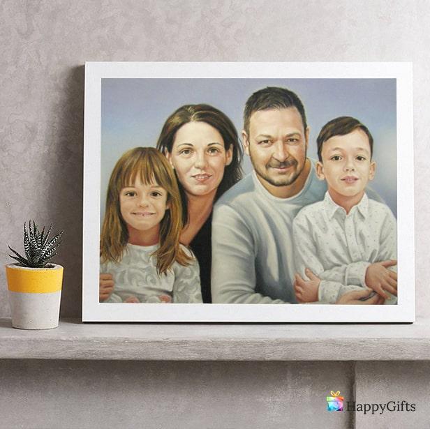 подарък за кръщене на момче; семеен портрет по снимка