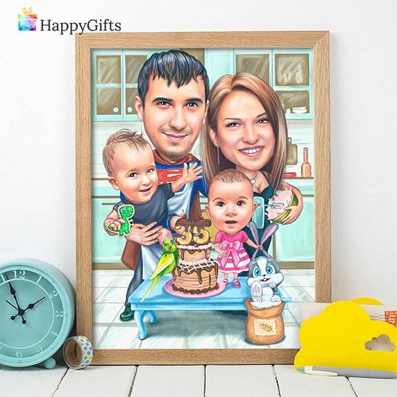 Подарък за 1 годишно момиче; забавен семеен шарж
