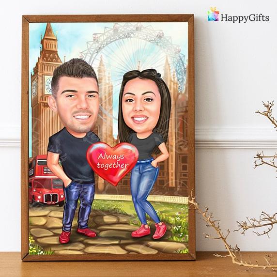 Шарж за двойка, романтичен подарък за деня на влюбените