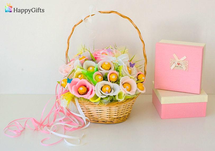 подаръци за дъщеря, подарък за дъщеря, подаръчна кошница, шоколадов букет