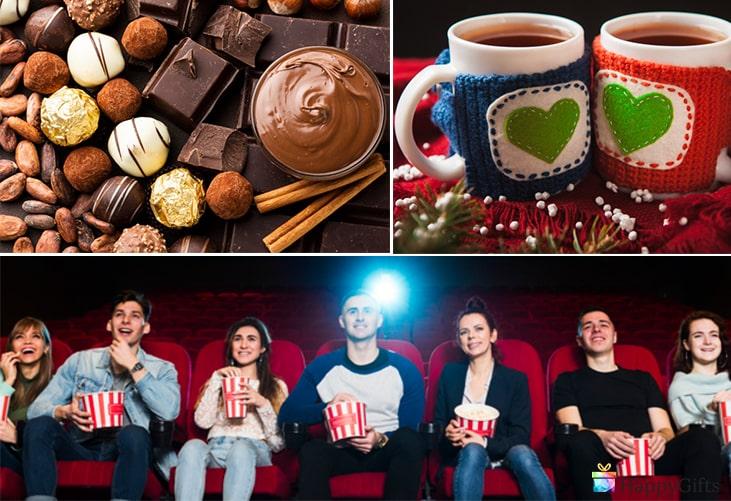 подарък за свети валентин за момче; шоколадовови бонбони, чаша за влюбени, билети за кино