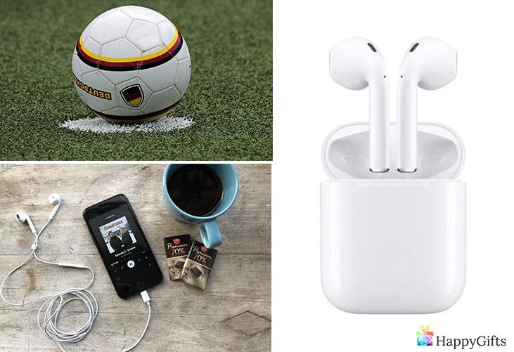 подарък за тийнейджър момче; топка, телефон, безжички слушалки, музика
