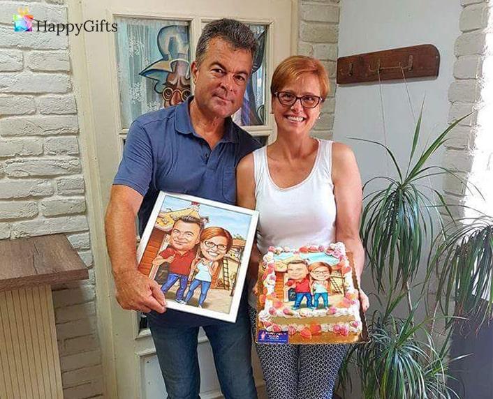 изненада за рожден ден на мъж карикатура върху торта