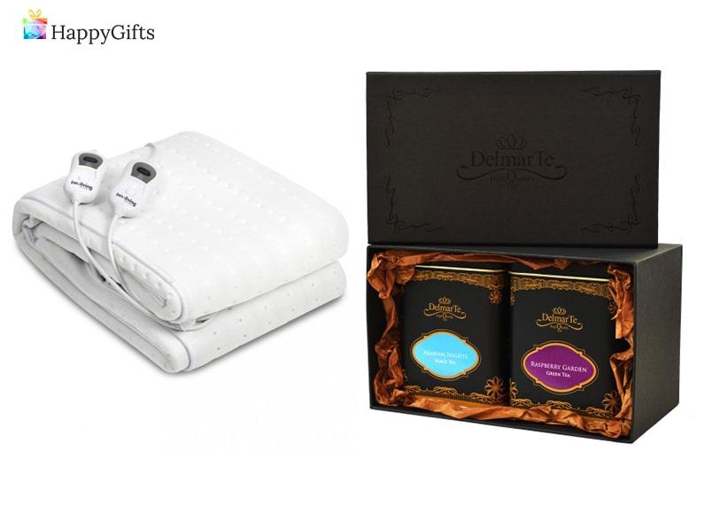 традиционни коледни подаръци; електрическо одеяло, комплект от чай и чайник