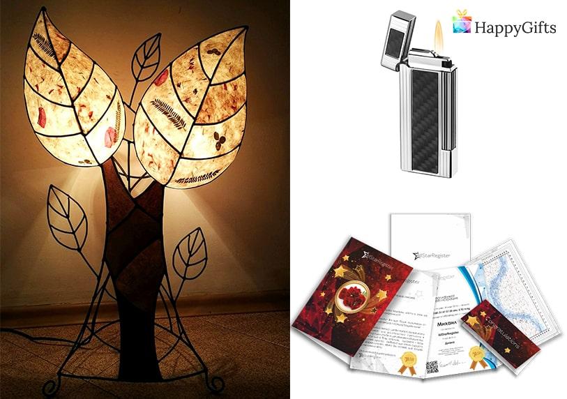 Подарък за любимия мъж за Свети Валентин; уникален подарък, ръчно изработена лампа, гравирана запалка, звезда с неговото име