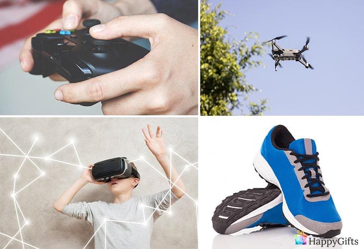подаръци за момчета на 13 години; видео игра, очила за виртуална реалност, дрон, маратонки