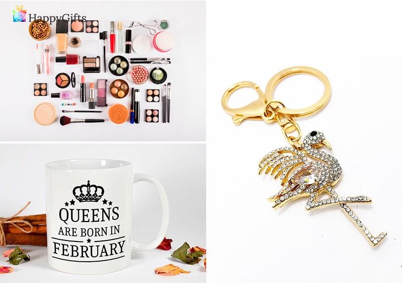Подаръци за 20 рожден ден; гримове, чаша, луксозен ключодържател