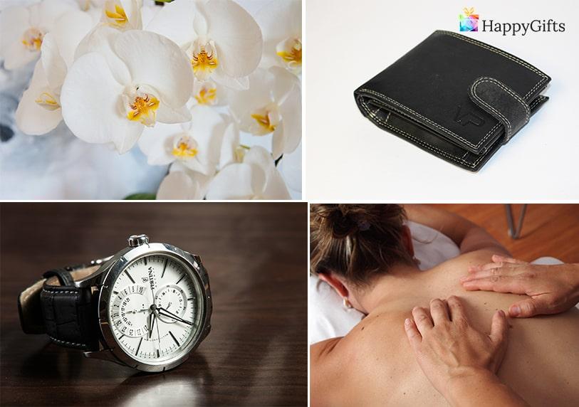Подарък за 25 ти рожден ден; орхидея, кожен портфейл, часовник, спа уикенд