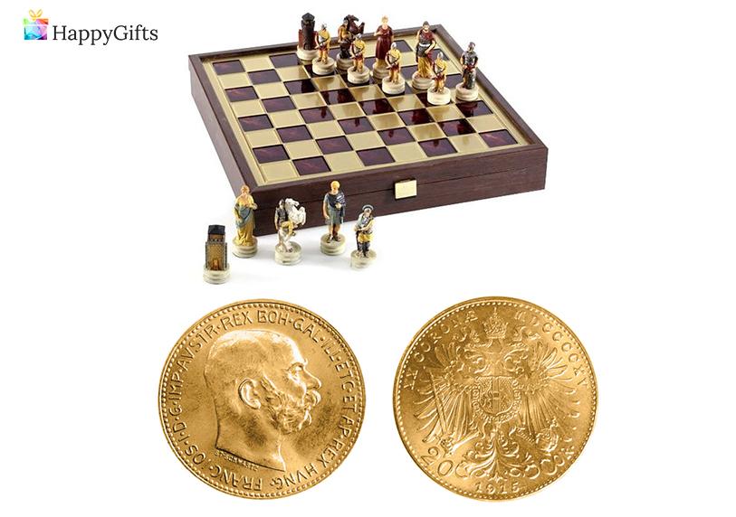 Подарък за 50 годишнина на баща; шах, златна монета