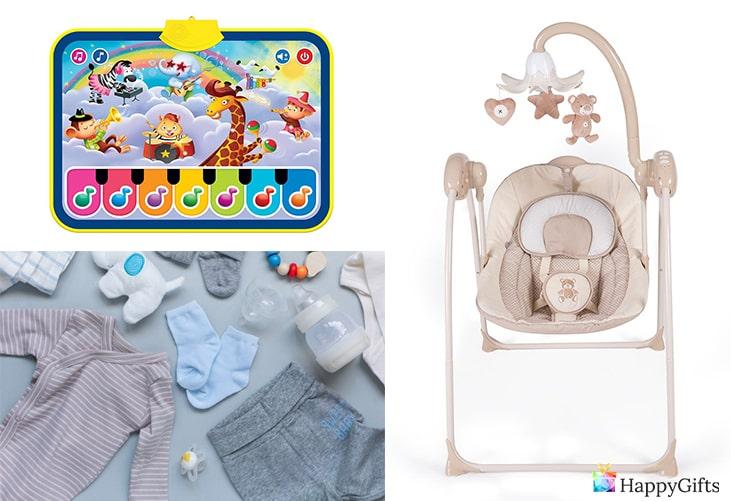 подаръци за бебе момче; детско пиано, дрешки, столче/люлка