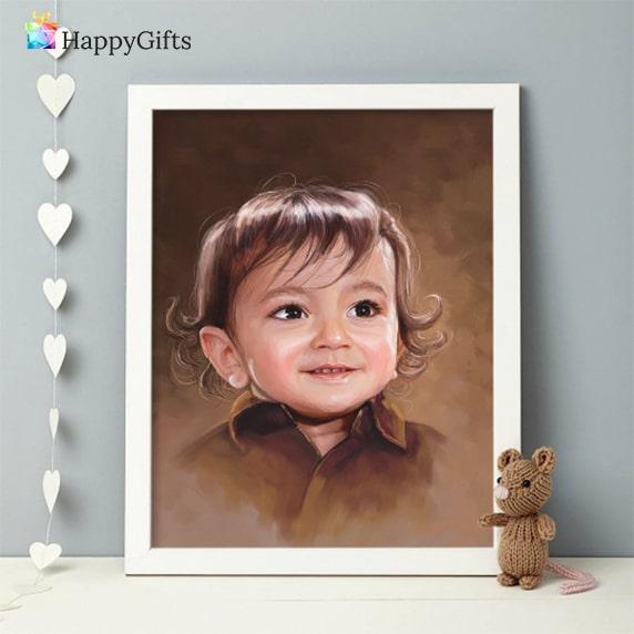 портрет на бебе, портрет по снимка