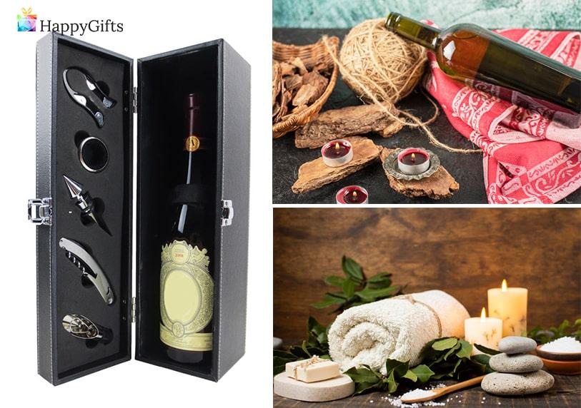 подаръци за годишнина, кутия за вино, вино, романтична вечеря, спа терапия