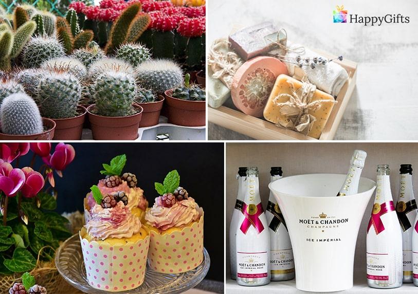 забавни подаръци за гости, подаръци за гости, кактус, мини шампанско, мъфин, сапуни