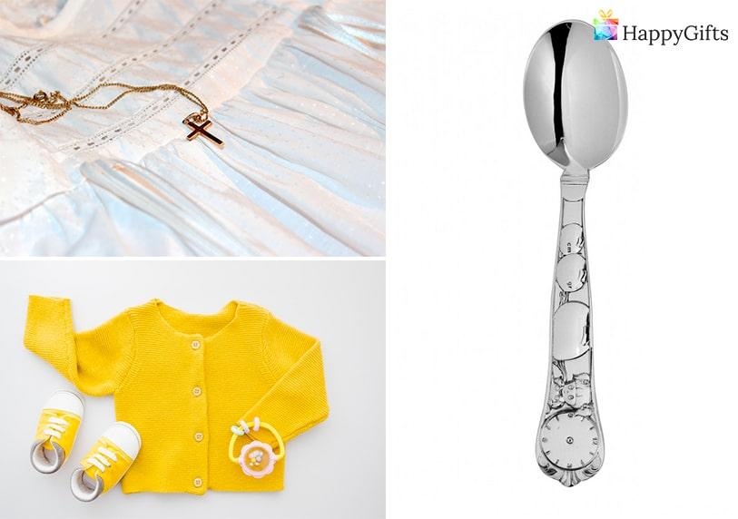 подаръци за кръщене, дрешки, златно кръстче, сребърна лъжица