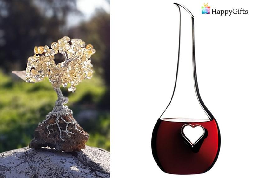 подарък за кумове, Дървото на живота от полускъпоценни камъни, декантер за вино