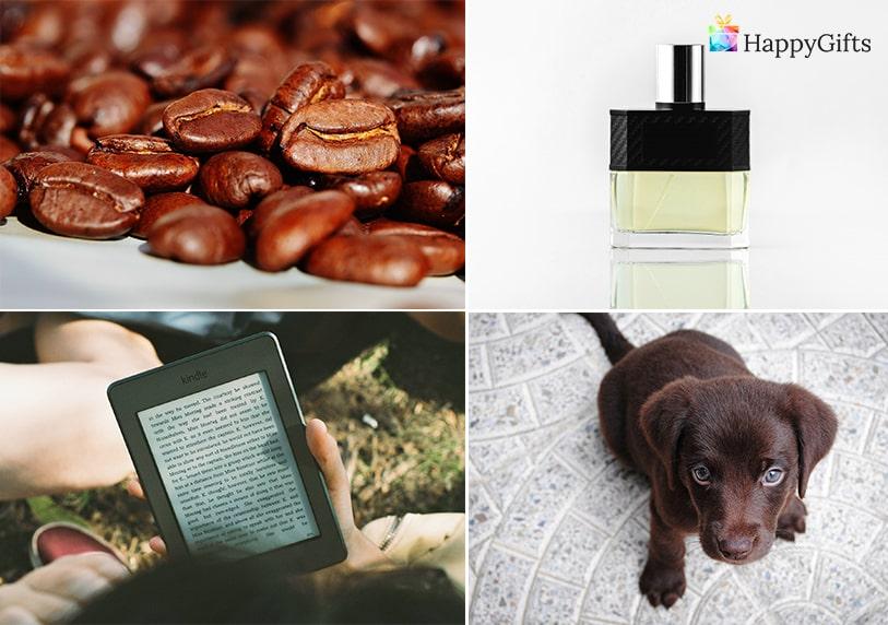 Подарък за любимия мъж за свети валентин; кафе, парфюм, електронен четец, домашен любимец