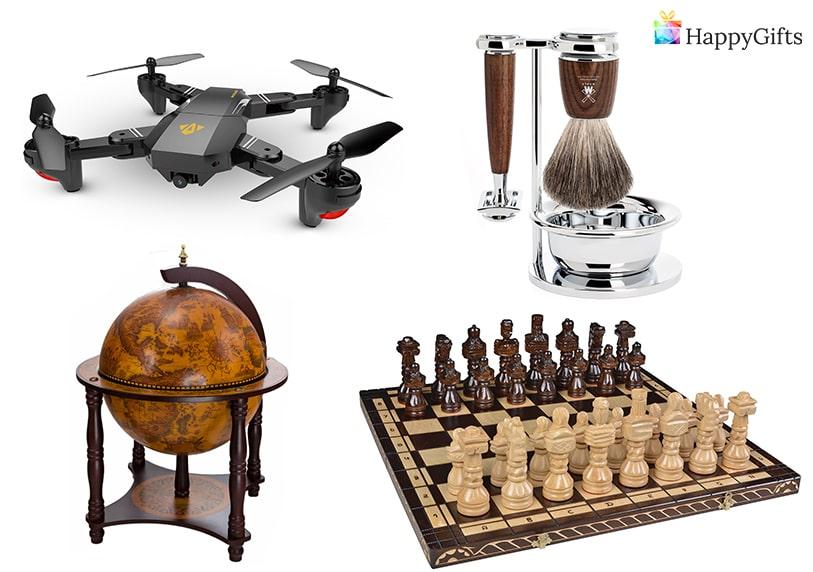 подаръци за мъж, глобус бар, дрон, комплект за бръснене, шах, шахматна дъска