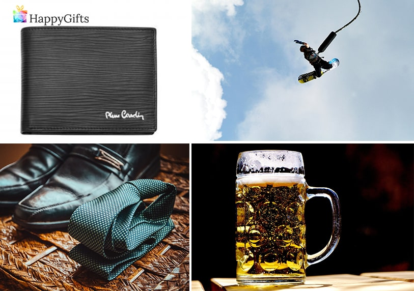 Подаръци за мъже на 30; портфейл, бънджи скок, обувки и вратовръзка, халба за бира