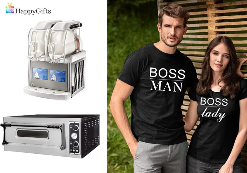 подаръци за младоженци, забавни подаръци за младоженци, тениски, фурна за пица, машина за сладолед