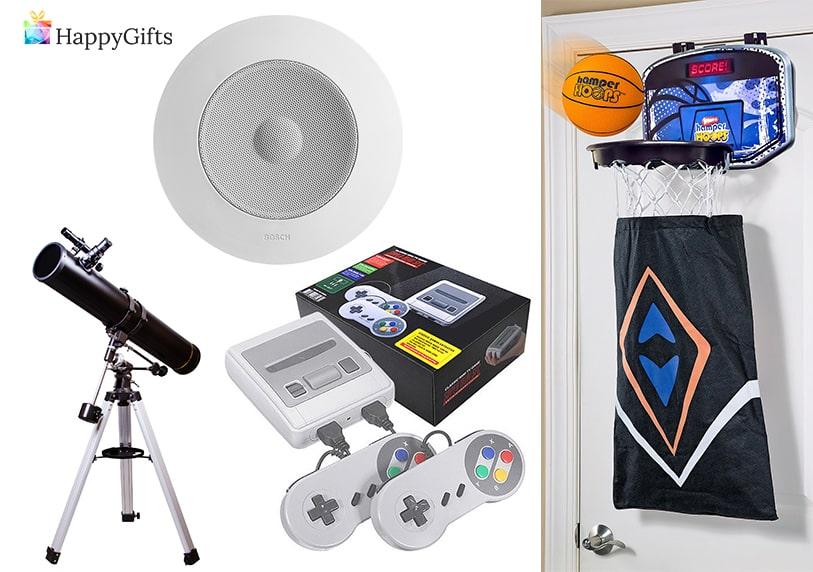 подаръци за момче, телескоп, тонколонка, видео игра, кош за пране
