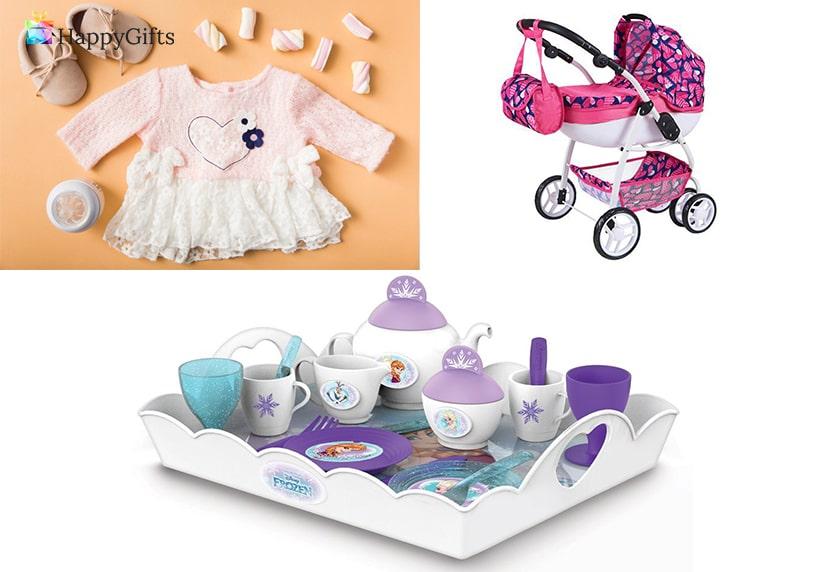 Подарък за 1 годишно момиче; дрешки, количка, сервиз за чай
