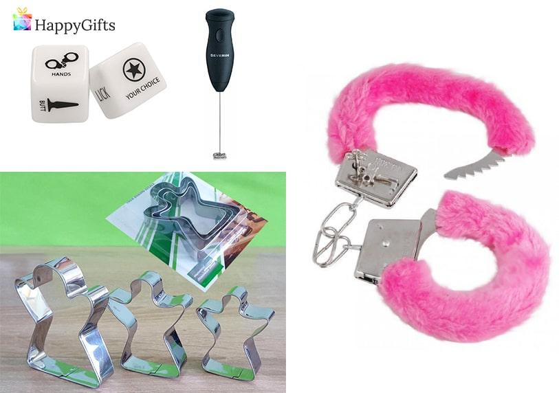 подаръци за моминско парти, розови белезници, еротични зарове, форми за сладки, машина за фрапе