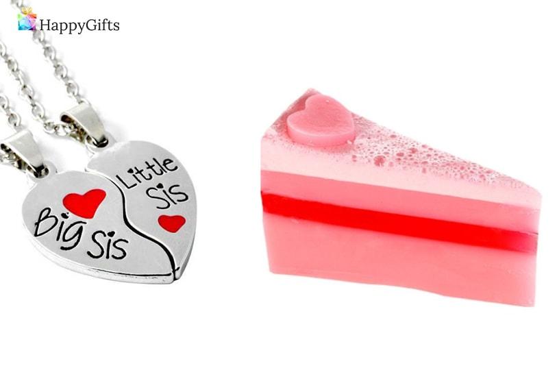 подарък за сестра за рожден ден; двойно колие, сапун-торта