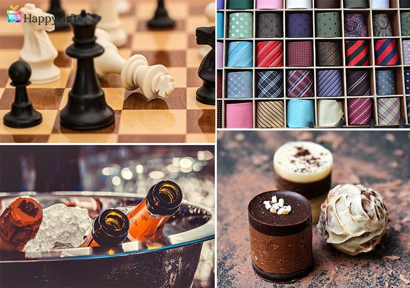 подарък за рожден ден на шефа. шах, кутия за вратовръзки, стойка за вино, ръчно направени сладки, бонбони