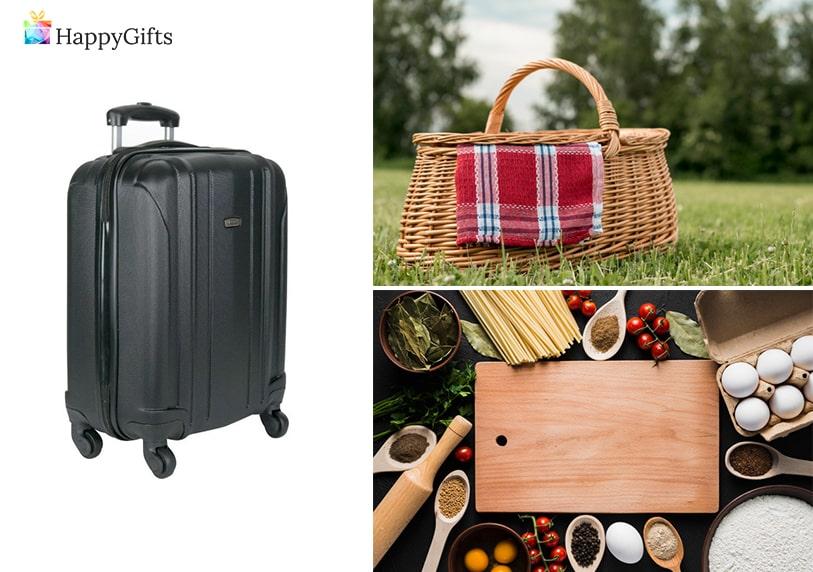 подаръци за сватба, куфар, кошница за пикник, дъска за рязане