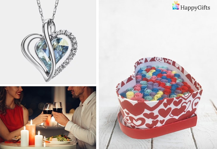 """подарък за приятелката ми за свети валентин; колие, вечеря, """"обичам те"""" на сто езика"""