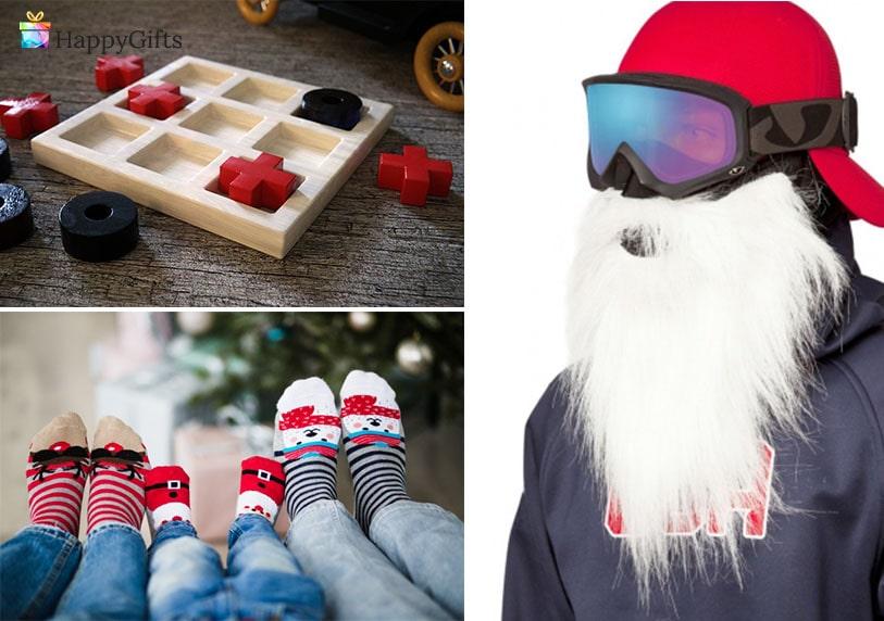 забавни коледни подаръци, маска за ски с брада, игра, чорапи