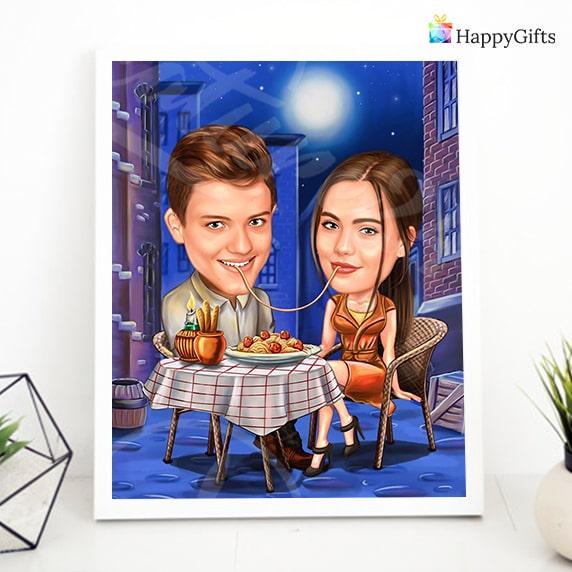 забавен шарж за влюбени довийки, подарък за Свети Валентин