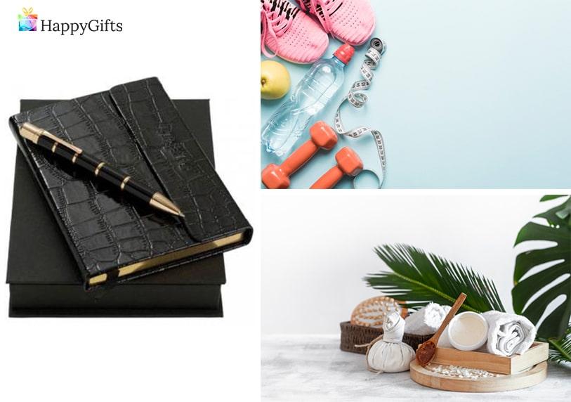 подаръци за модерна и съвременна тъща; тефтер и писалка, карта за фитнес, ваучер за спа