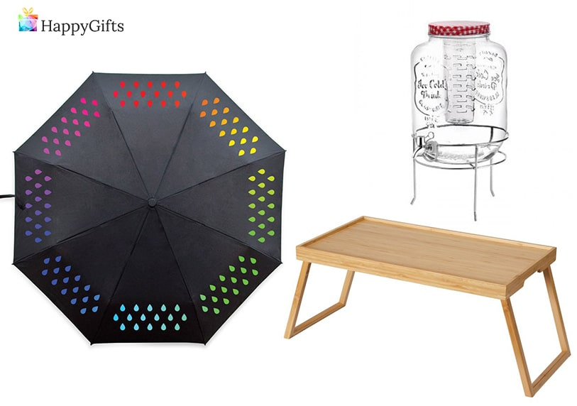 оригинални подаръци за рожден ден на тъщата; чадър, декантер, табла за закуска в леглото